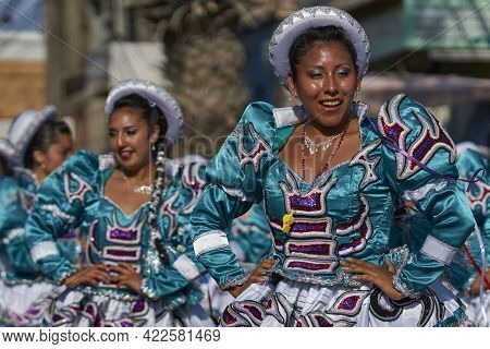 Arica, Chile - January 22, 2016: Caporales Dance Group Performing At The Annual Carnaval Andino Con