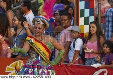 Arica, Chile - January 22, 2016: Morenada Dance Group Performing A Traditional Ritual Dance As Part