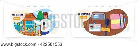 Journalist Landing Page Design, Website Banner Vector Template Set. News Reporter Making Live Report