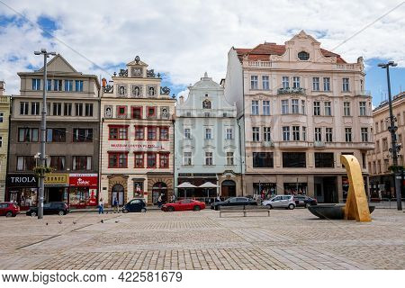 Colorful Renaissance Historical Buildings And The Puppet Museum In Main Republic Square Of Plzen In