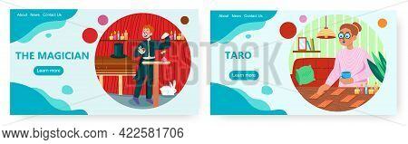 Magic Landing Page Design, Website Banner Vector Template Set. Fortune Teller With Tarot Cards, Magi