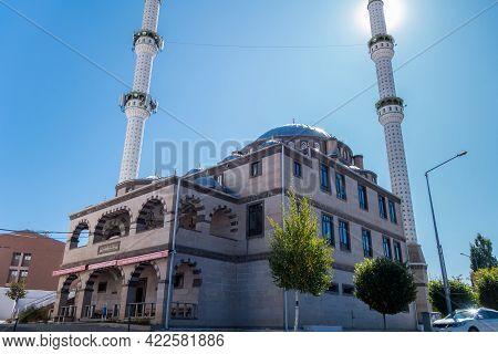 Street View On Ehlibeyt Ichikli (ehlibeyt Işıklı) Mosque, Kars, Turkey. Mosque & Minarets Built In O