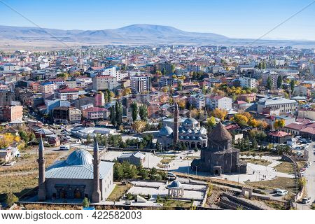 Panoramic View Onto Kars (turkey) From Walls Of Kars Castle. Most Popular Tourist Attractions Are On