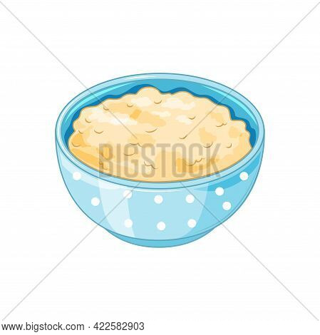 A Plate Of Oatmeal On A White Background In The Cartoon Style. Oatmeal Is A Healthy Food. Vector Ill