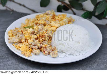 Omelet Or Thai Omelet, Thai Omelette Or Stir Fried Egg With Rice