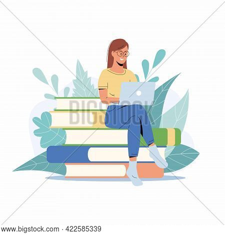 Student Girl Studying With Laptop. Young Woman Sitting On Stack Of Books, Getting Knowledge Online.