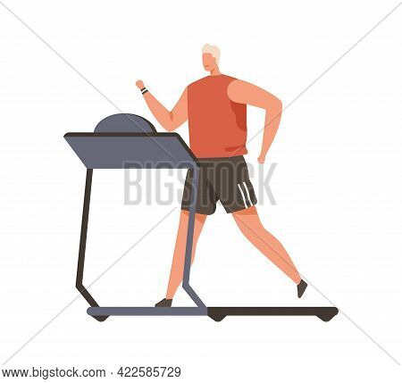 Person Running On Treadmill. Young Man During Cardio Workout On Gym Equipment. Runner Exercising On