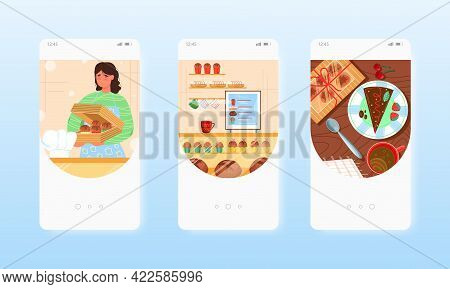 Confectioner Baker Selling Cakes, Sweet Pastry. Mobile App Screens, Vector Website Banner Template.