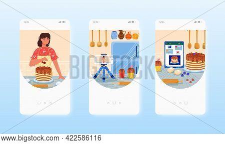 Confectioner Blogger Cooking Cake. Food Blog. Mobile App Screens, Vector Website Banner Template. Ui