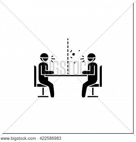 Glass Barrier Glyph Icon.people Sitting, Talking Trough Safety Screen.concept Of Covid Preventive Me