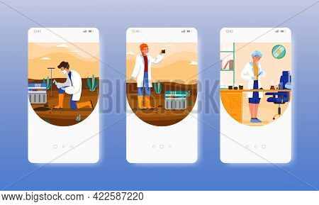 Agricultural Soil Quality Testing In Lab, Field. Mobile App Screens, Vector Website Banner Template.
