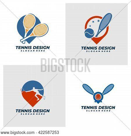 Set Of Point Tennis Logo Vector Template, Creative Tennis Logo Design Concepts.
