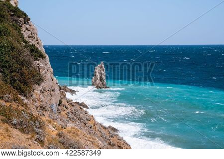 Rough Sea With Waves Crashing Against Cliffs In Crimea, Black Sea, View From Yalta, Swallow\\\'s Nes