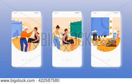 Dressing Room. Makeup Room. Fashion Industry. Mobile App Screens, Vector Website Banner Template. Ui