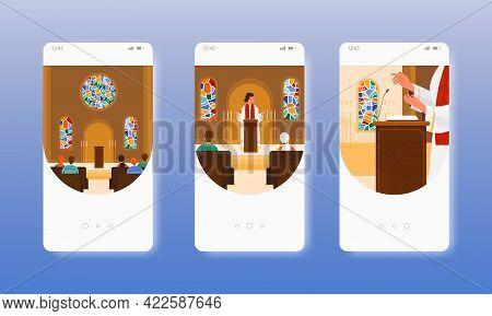 Priest, Pastor Saying Prayer. Church Worship. Mobile App Screens, Vector Website Banner Template. Ui