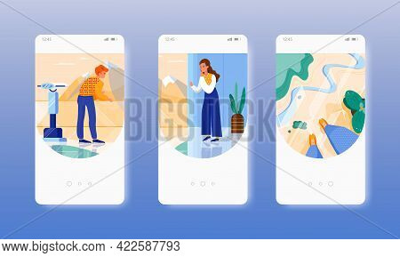 Acrophobia. Anxiety Disorder. Fear Of Heights. Mobile App Screens, Vector Website Banner Template. U
