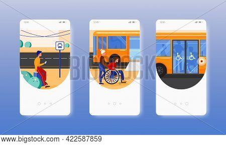 Bus Station. City Bus Wheelchair Access Ramp. Mobile App Screens, Vector Website Banner Template. Ui