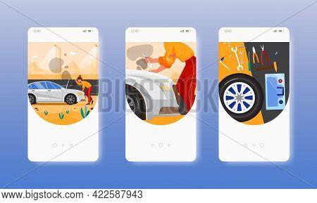Car Breakdown. Spare Wheel, Toolbox. Mobile App Screens, Vector Website Banner Template. Ui, Web Sit