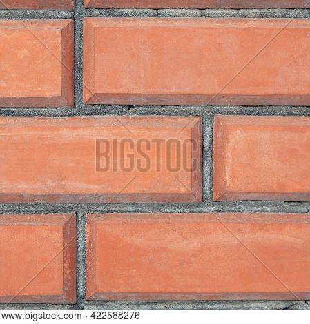 Red Italian Brick Masonry Close-up. Background Image