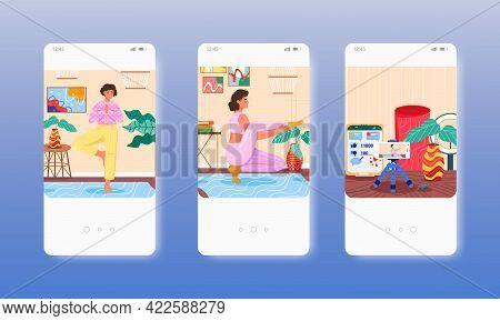 Yoga Trainer Recording Video, Blog Vlog Content. Mobile App Screens, Vector Website Banner Template.