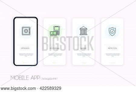 Templates Concept Of Online Banking. Cash, Internet Banking, Purchasing And Transaction, Electronic