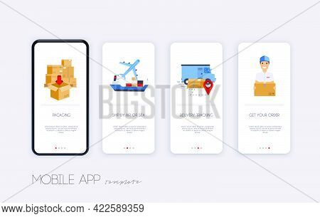 Delivery Tracking App. Template Screens User Interface Kit For Mobile App Templates Concept Of Deliv
