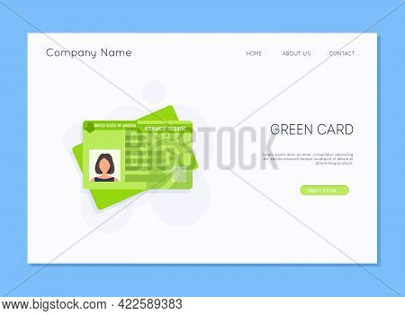 Permanent Residency Card. Isolated Vector Illustration Of A Green Card.