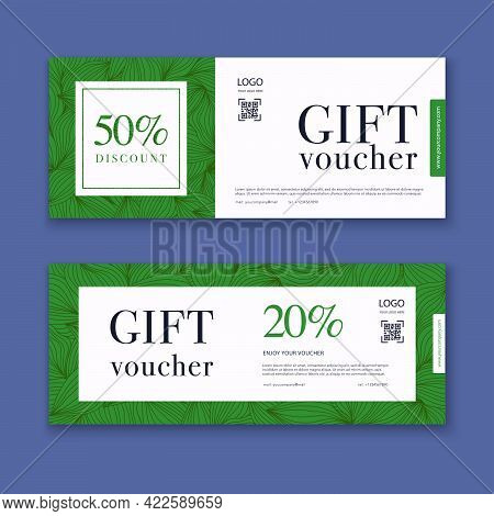 Voucher Template With Color Gift Box, Certificate. Background Design Coupon, Invitation, Currency. V