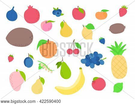 Set Of Colorful Hand Draw Fruits. Tropical Sweet Fruits, And Citrus Fruit Illustration. Vector Set O