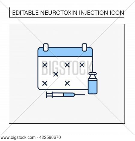 Schedule Line Icon. Vaccination Graph. Cosmetic Injection Schedule. Beauty Cosmetic Procedure Concep