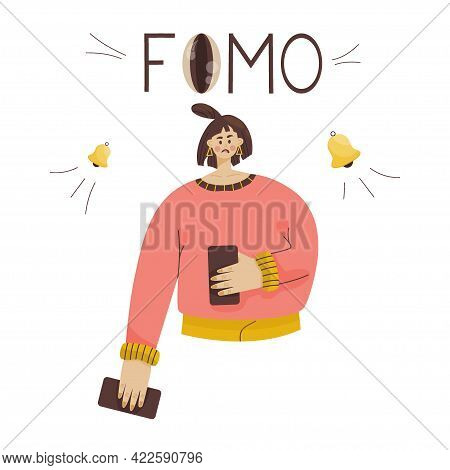 Fomo Concept. Word Fomo Eyes Bell On It. With The Phone In Both Hands, He Is Afraid Of Missing Impor