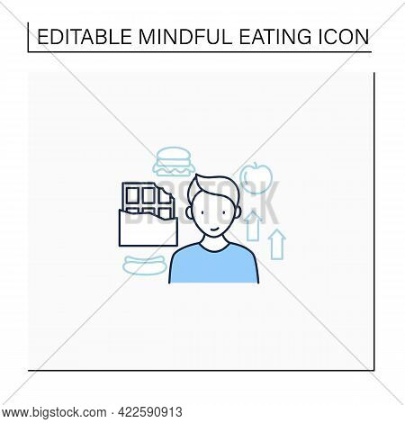 Mindful Eating Line Icon. Foods To Affect Mood. Unconscious Nutrition. Overeating.improve Mood Food.