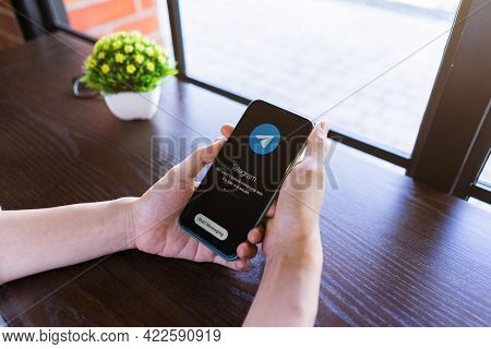 Chiang Mai, Thailand, May 10, 2021 Telegram Application On Smart Phone With Apple Iphone Xi. Social