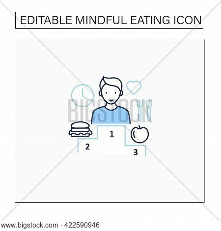 Mindful Eating Line Icon. Relationship With Food. Conscious Nutrition. Intuitive Eating. Healthy Foo