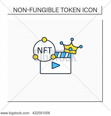 Nft Video Color Icon. Video File Format With Non Fungible Token Coin.represent Digital Files. Used T
