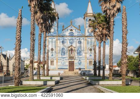 Architectural Detail Of The Church Santa Marinha In Cortegaca - Ovar, Portugal. View At The Azulejo