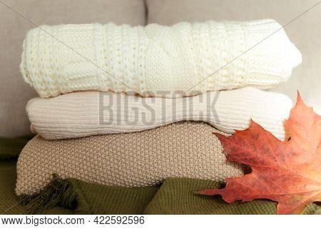 Sweater Stack, Orange Maple Leaf, Autumn Sweater Stack, Orange Maple Leaf, Autumn