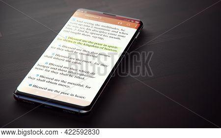 Bible On Smartphone. Matthew 5:3 Highlighted In Nkjv Bible On Modern Phone Screen. 3d Render.