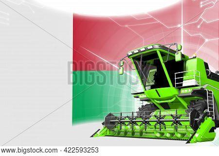 Digital Industrial 3d Illustration Of Green Advanced Wheat Combine Harvester On Madagascar Flag - Ag