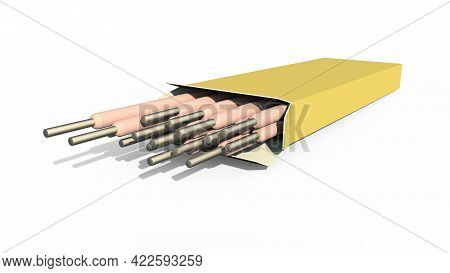 Welding Electrodes Pack. Isolated Industrial 3d Illustration
