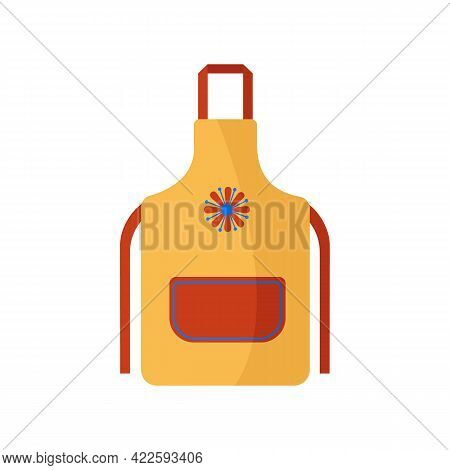 Bright Yellow Kitchen Apron With Ties And Large Red Pocket And Beautiful Flower Painted On It. Pinaf