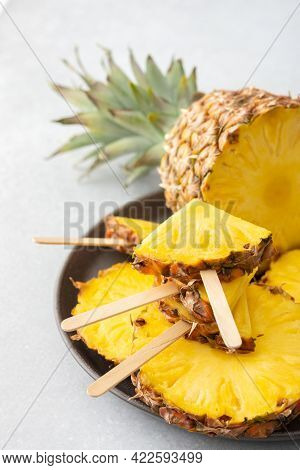 Pineapple In The Form Of Ice Cream On A Stick
