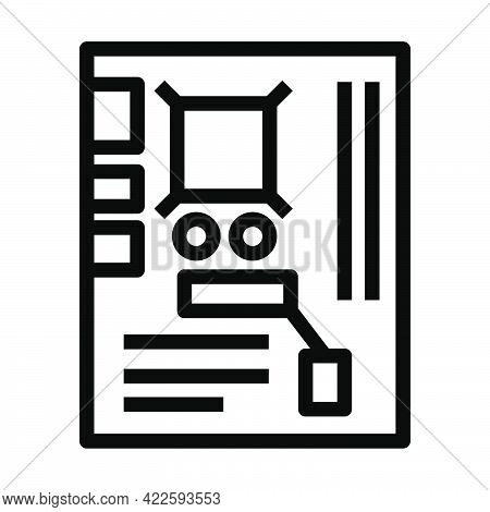 Motherboard Icon. Editable Bold Outline Design. Vector Illustration.