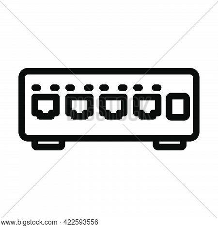 Ethernet Switch Icon. Editable Bold Outline Design. Vector Illustration.