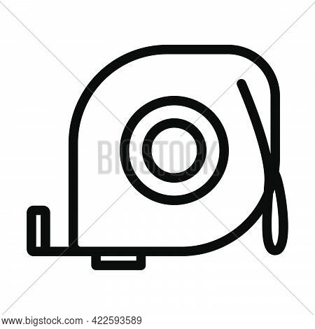 Icon Of Constriction Tape Measure. Editable Bold Outline Design. Vector Illustration.