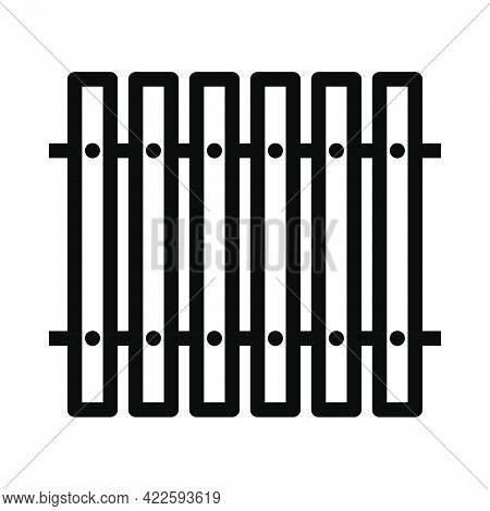 Icon Of Construction Fence In Ui Colors. Editable Bold Outline Design. Vector Illustration.
