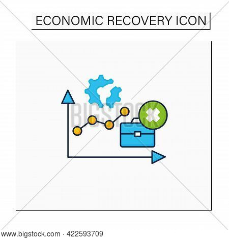 Unemployment Rate Color Icon.total Labor Force. Expanding Jobs. Economy Recovery Concept. Isolated V