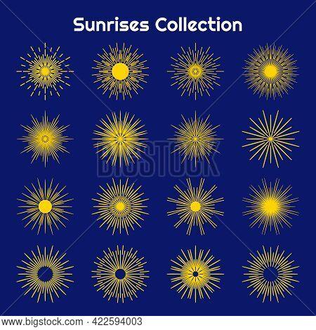 Set Of Bursting Rays Sunrise Starburst Burst Flat Cartoon Icon. Graphic Symbol Different Sunrise, Su