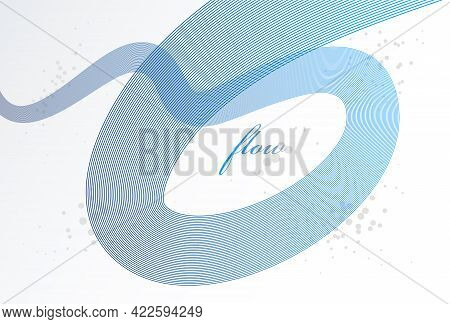 Elegant Blue Lines Vector Dimensional Abstract Background, 3D Dynamic Curve Stripes In Motion Beauti