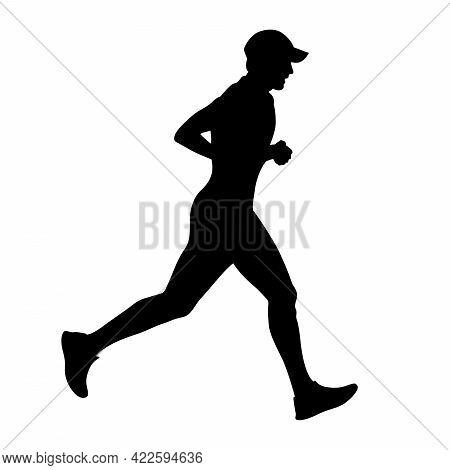 Male Runner In Cap Running Black Silhouette